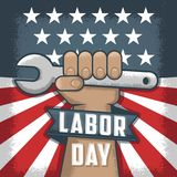Labor Day flayer. American holiday. Working man holding a tool vector illustration