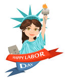Labor Day greeting card with girl dressed in a costume of Statue Royalty Free Stock Image