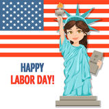 Labor Day greeting card with USA flag and girl dressed in a cost Royalty Free Stock Image