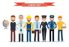 Labor Day. A group of people of different professions on a white background. Teacher, doctor, Builder, businessman vector illustration