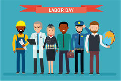 Labor Day. A group of people of different professions on a white background. Vector illustration in a flat style royalty free illustration