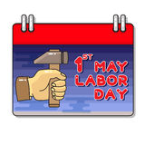 Labor Day. Hand and hammer. Vector Cartoon  greeting card Stock Photography
