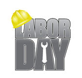 Labor day helmet and wrench sign Stock Photos