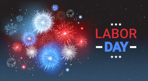 Labor Day Holiday Greeting Card With Firework Banner. Flat Vector Illustration Royalty Free Stock Images