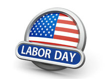 Labor Day icon. Emblem, icon or button with american flag represents Labor Day in USA, isolated on white background, three-dimensional rendering, 3D illustration Stock Photos