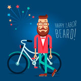 Labor Day Illustration card with the hipster guy Royalty Free Stock Photos