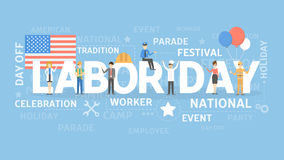 Labor day illustration. Word cloud with american flags and workers vector illustration
