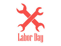 Labor Day logo with spanners isolated on a white background. 1st of May. Tools for repair. Vector. Illustration Stock Illustration