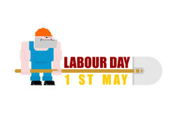 Labor Day logo. Workers and shovels. Sign for holiday. Hand tool Royalty Free Stock Photos