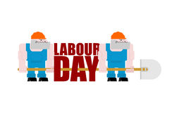 Labor Day logo. Workers and shovels. Sign for holiday. Hand tool Royalty Free Stock Photo