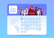Labor Day 1 May On Calendar With Group Of People Of Different Occupations Background. Flat Vector Illustration vector illustration