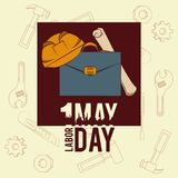 Labor day may eleven card. Briefcase and helmet with plans vector illustration graphic design stock illustration