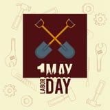Labor day may eleven card. Crossed shovel frame cartoons vector illustration graphic design royalty free illustration