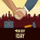 Labor day may eleven card. Handshaking businessman and worker vector illustration graphic design royalty free illustration