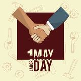 Labor day may eleven card. Handshaking businessman and worker vector illustration graphic design vector illustration