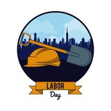 Labor day may eleven card. With ribbon banner vector illustration graphic design stock illustration