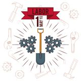Labor day may eleven card. With ribbon banner vector illustration graphic design vector illustration