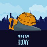 Labor day may eleven card. Saw and helmet over cityscape vector illustration graphic design stock illustration