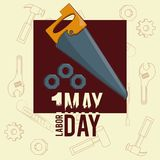 Labor day may eleven card. Saw and threads vector illustration graphic design vector illustration