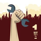 Labor day may eleven. Card with tool and cityscape vector illustration graphic design vector illustration