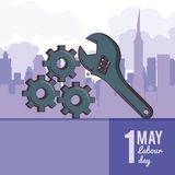 Labor day may eleven. Card with tool and cityscape vector illustration graphic design royalty free illustration