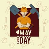 Labor day may eleven card. Worker and shovel with pick vector illustration graphic design vector illustration