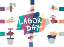 Labor Day. 1 May. Labor Day Lettering Greeting Banner In View Ribbon With hammer, screwdriver, spanner, tool. First May Poster. Vector Stock Photos