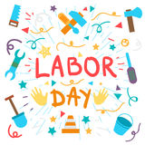 Labor Day. 1 May. Labor Day Lettering Greeting Banner In View Ribbon With hammer, screwdriver, spanner, tool. First May Poster. Vector Stock Images