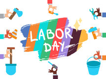 Labor Day. 1 May. Labor Day Lettering Greeting Banner In View Ribbon With hammer, screwdriver, spanner, tool. First May Poster. Vector Stock Image