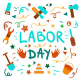 Labor Day. 1 May. Labor Day Lettering Greeting Banner In View Ribbon With hammer, screwdriver, spanner, tool. First May Poster. Vector Royalty Free Stock Photo