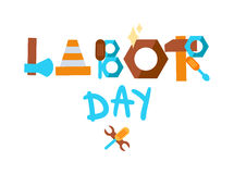 Labor Day. 1 May. Labor Day Lettering Greeting Banner In View Ribbon With hammer, screwdriver, spanner, tool. First May Poster. Vector Royalty Free Stock Photography