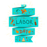 Labor Day. 1 May. Labor Day Lettering Greeting Banner In View Ribbon With hammer, screwdriver, spanner, tool. First May Poster. Vector Royalty Free Stock Image
