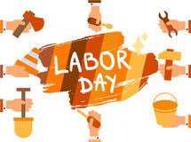 Labor Day. 1 May. Labor Day Lettering Greeting Banner In View Ribbon With hammer, screwdriver, spanner, tool. First May Poster. Vector Royalty Free Stock Photos