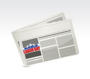 Labor day newspaper sign illustration Stock Photography