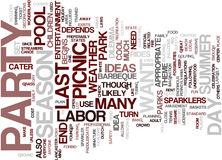 Labor Day Party And Picnic Ideas Text Background  Word Cloud Concept Stock Photo