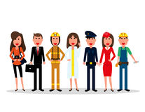 Labor Day. People group characters of different professions on a Royalty Free Stock Images