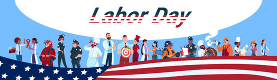 Labor Day People Group Different Occupation Set, Employees Mix Race Workers Banner. Flat Vector Illustration Stock Photo