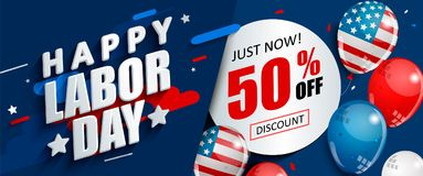 Labor day 50 percent off sale promotion. Labor day 50 percent off sale promotion, advertising banner template with American flag balloons. Perfect for marketing Vector Illustration