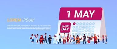 Labor Day Poster With Group Of People Of Different Occupations Standing Calender With 1 May Date Background. Flat Vector Illustration stock illustration