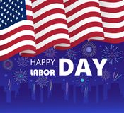 Labor Day poster or header for web. UI, landing page vector. United States national holiday for workers in September. USA flag is waving on firework background vector illustration