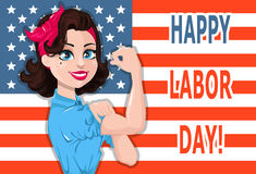 Labor day poster. Pop art strong woman with USA flag on backgrou Stock Photography