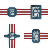 Labor Day realistic textile Labels Set Royalty Free Stock Photography