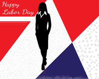 Labor day 5. Red white and blue vector illustration for labor day with a woman Royalty Free Stock Photos