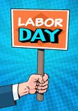 Labor Day Retro Poster Over Comic Pop Art Background Holiday Greeting Card Design. Flat Vector Illustration Stock Photos