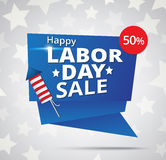 Labor day sale banner with cracker firework. On american flag background Royalty Free Stock Photography