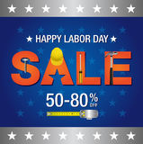 Labor day sale banner. Helmet,hammer and text on blue background Royalty Free Stock Photography