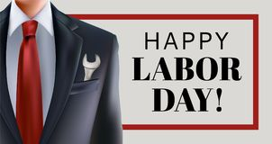 Labor day sale. Banner poster with man in suit with key tool in jacket pocket with red and blue necktie and USA american flag stock illustration