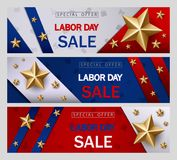 Labor day sale banner template with American flag and golden star design. Illustration of Labor day sale banner template with American flag and golden star Royalty Free Stock Image