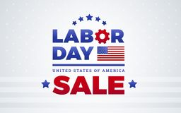 Labor Day sale banner template design - American flag, Labor Day USA logo. Labor Day sale banner template design w/ American flag, Labor Day lettering, United royalty free illustration