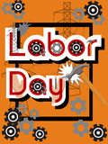 Labor Day Sale concept with hammer, gears, hands, high voltage posts, black frame and text on orange background. Cartoon vector illustration in flat style Royalty Free Stock Photography